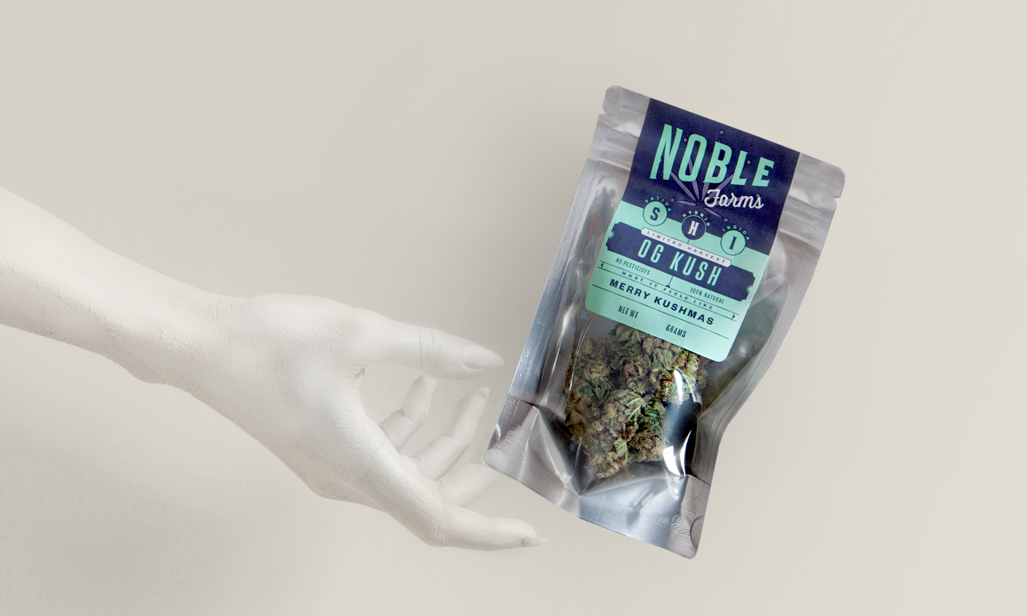 White-painted hand reaching for Noble Farms cannabis flower bag packaging on white background.
