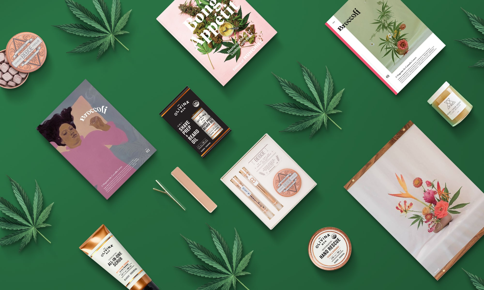 Hunter green background with cannabis leaves and various cannabis-themed products.