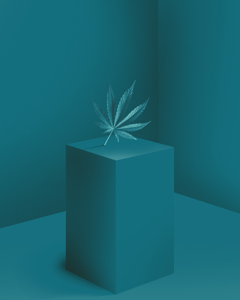 Monochromatic dark blue environment with cannabis leaf floating above square surface.