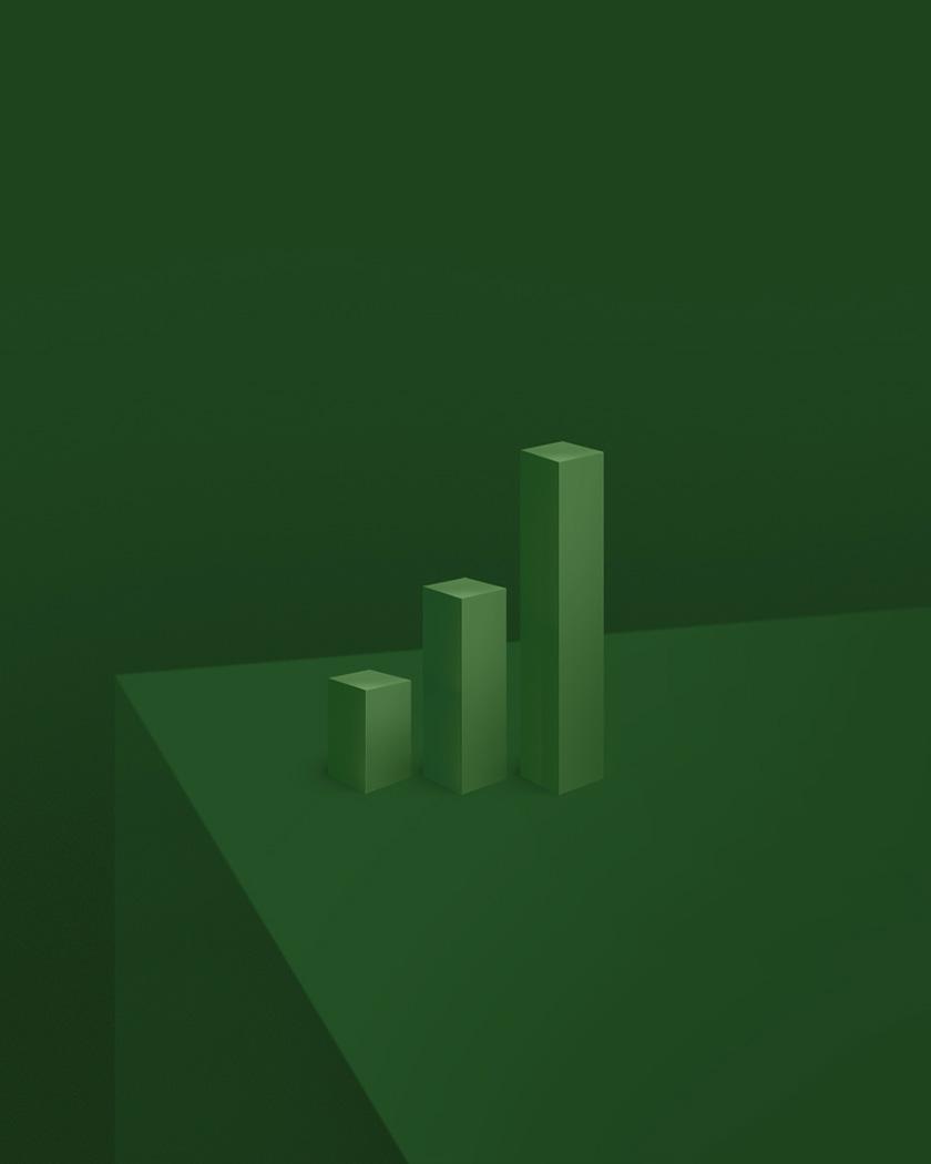 Dark green monochromatic environment with three-dimensional graph columns.