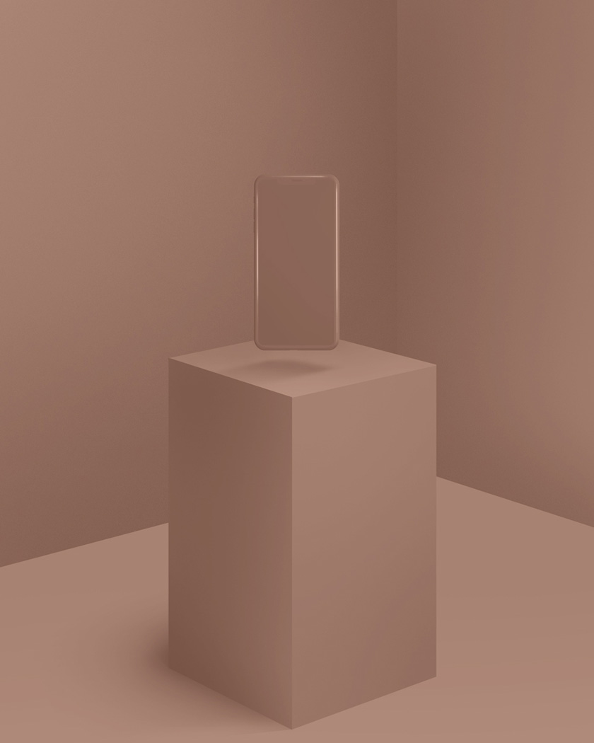 Beige monochromatic environment with smartphone floating above square surface.